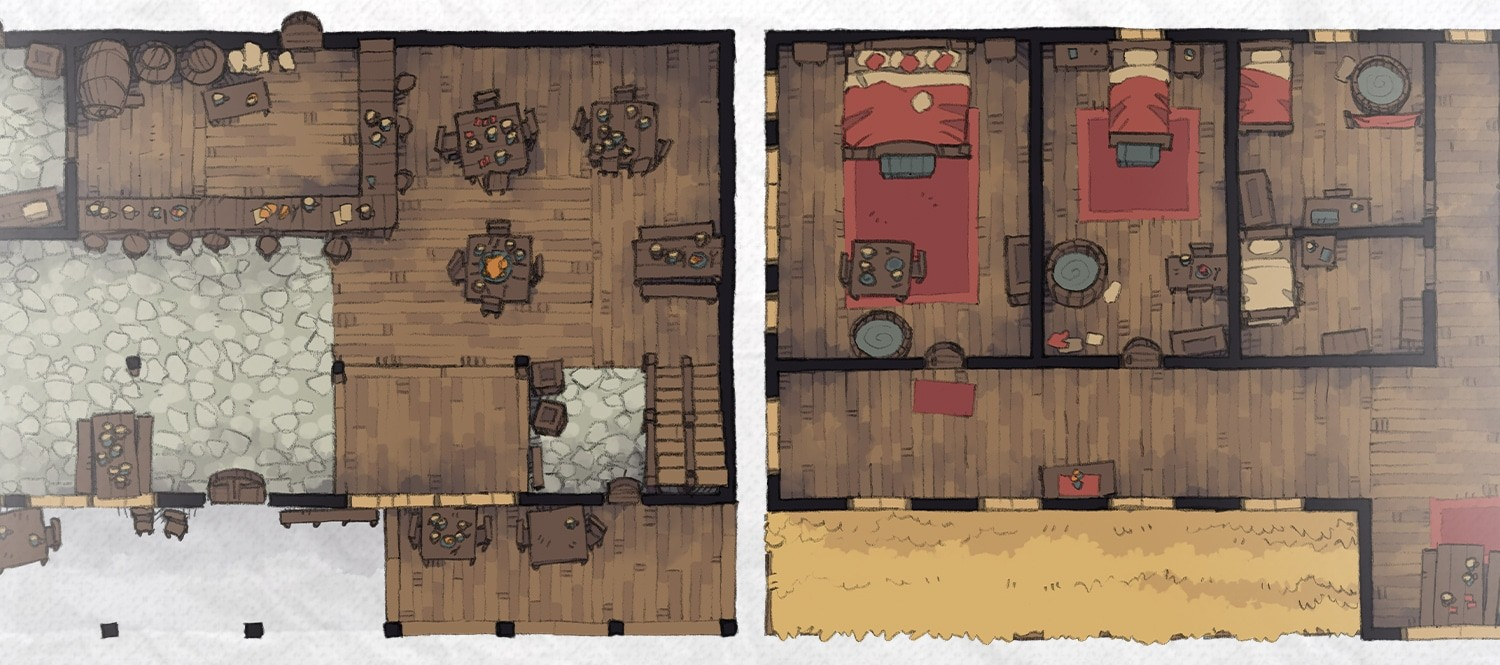 Typical Tavern, rpg battle map floorplan banner
