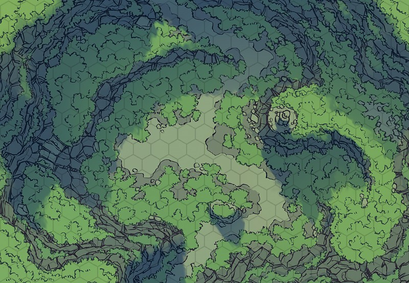 Highland Pass battle map, color, hex grid – 2-Minute Tabletop