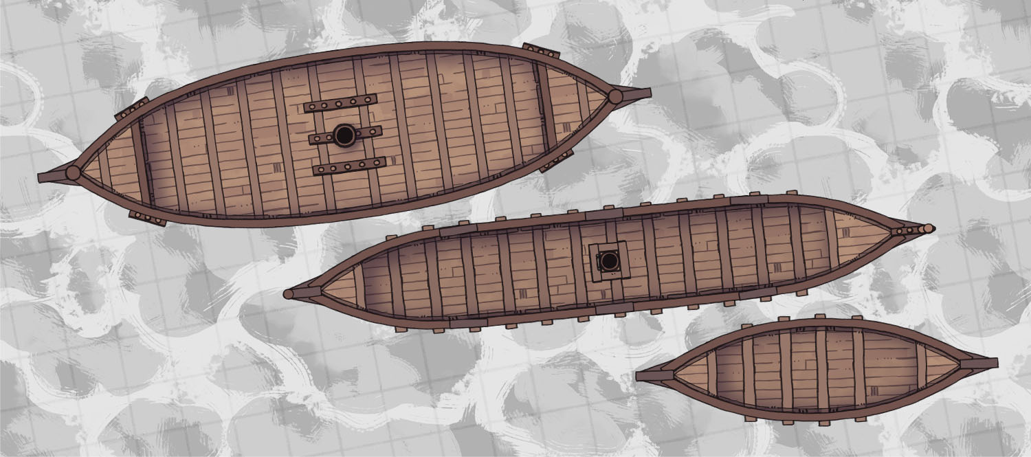 Dragonship, Rowboat, Viking Longship battle maps, banner