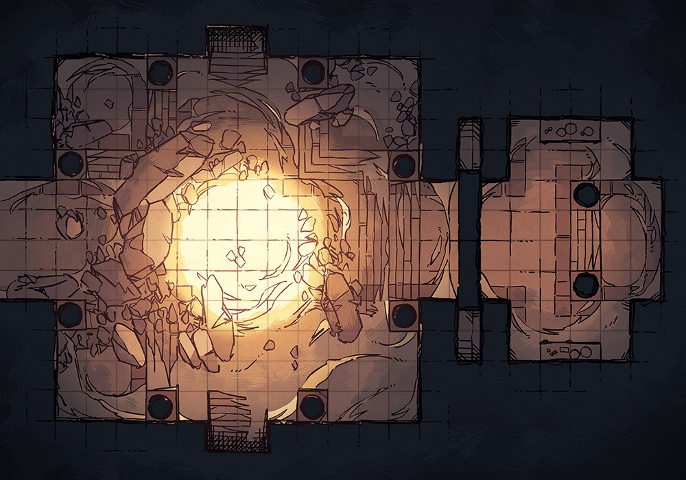 Crumbling Desert Tomb Battle Map – Grid Preview